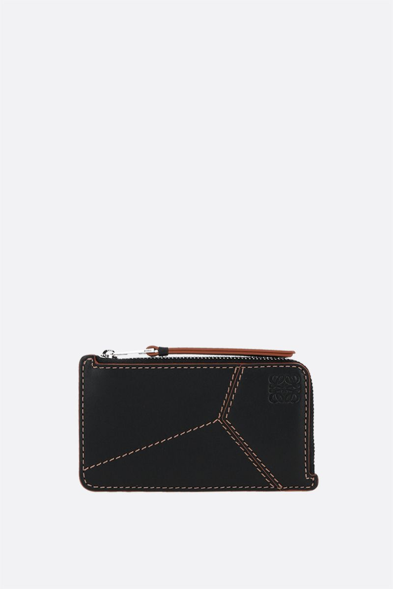 LOEWE: Puzzle smooth leather zipped card case Color Black_1