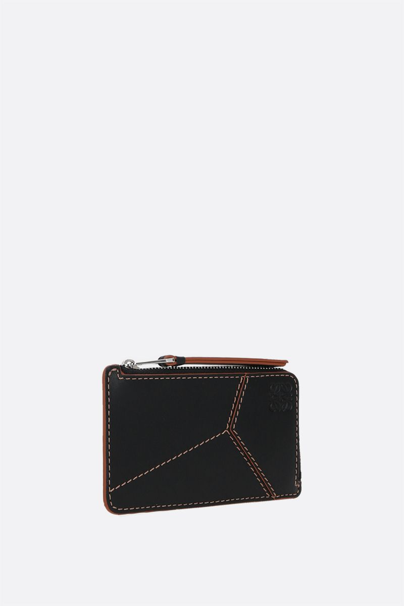 LOEWE: Puzzle smooth leather zipped card case Color Black_2
