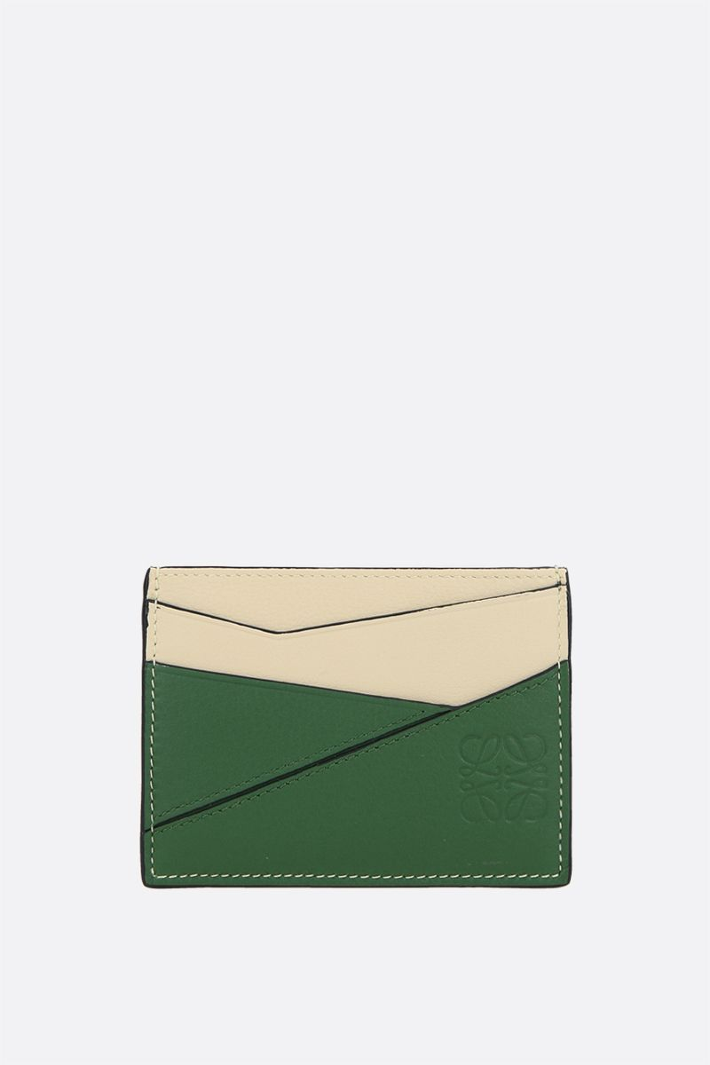 LOEWE: Puzzle card case in Classic leather Color Green_1
