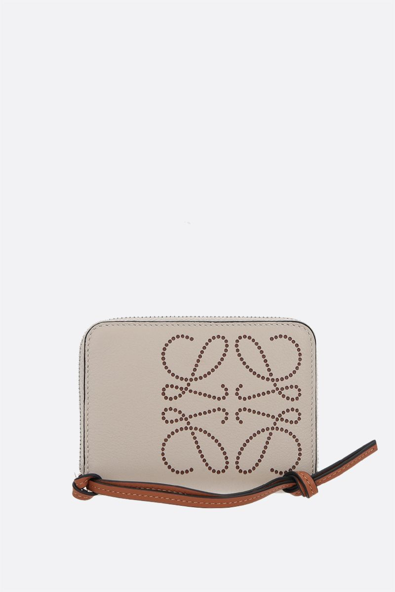 LOEWE: Brand zip-around wallet in Classic leather Color Brown_1