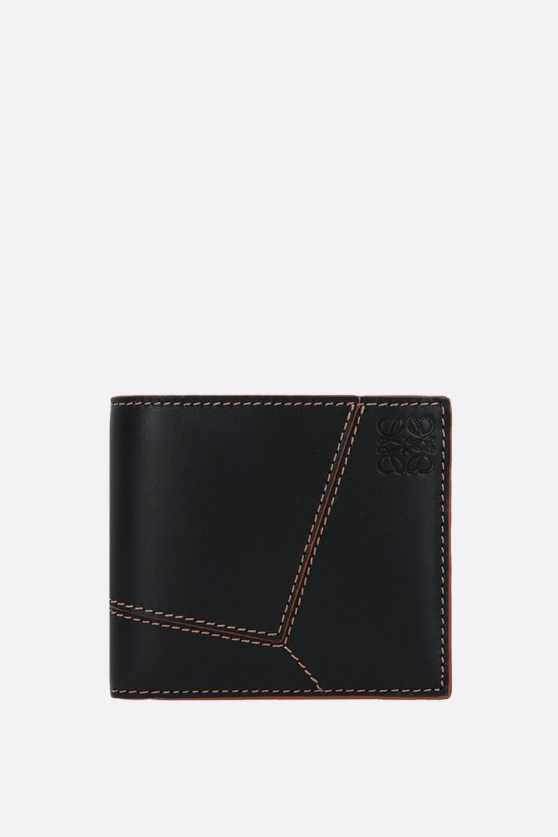 LOEWE: Puzzle smooth leather bifold wallet Color Black_1