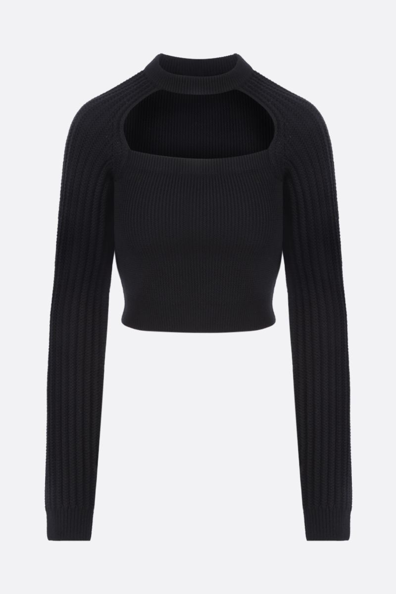 LOEWE: cut out wool blend cropped pullover Color Black_1