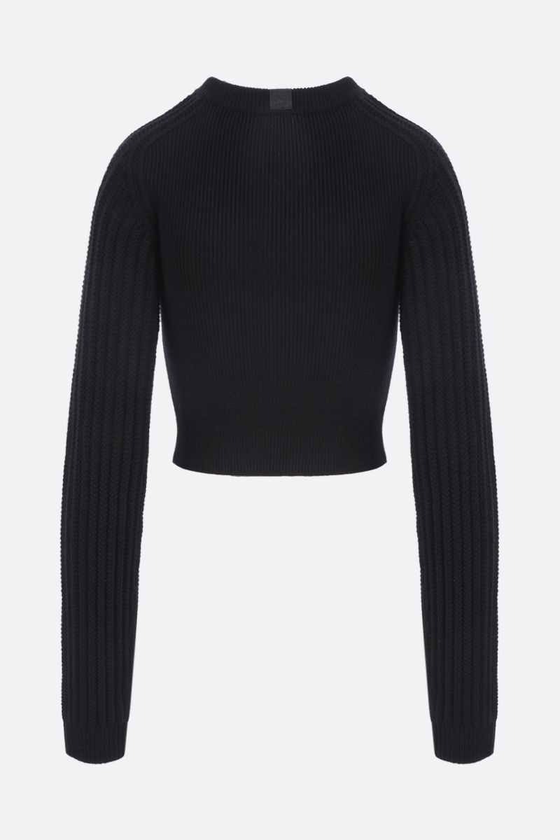LOEWE: cut out wool blend cropped pullover Color Black_2