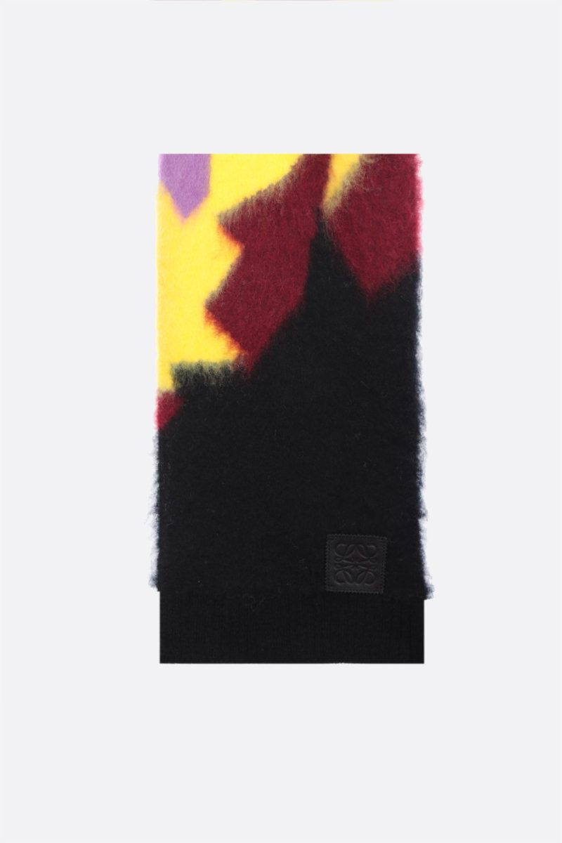 LOEWE: Anagram patch wool mohair blend scarf Color Multicolor_1