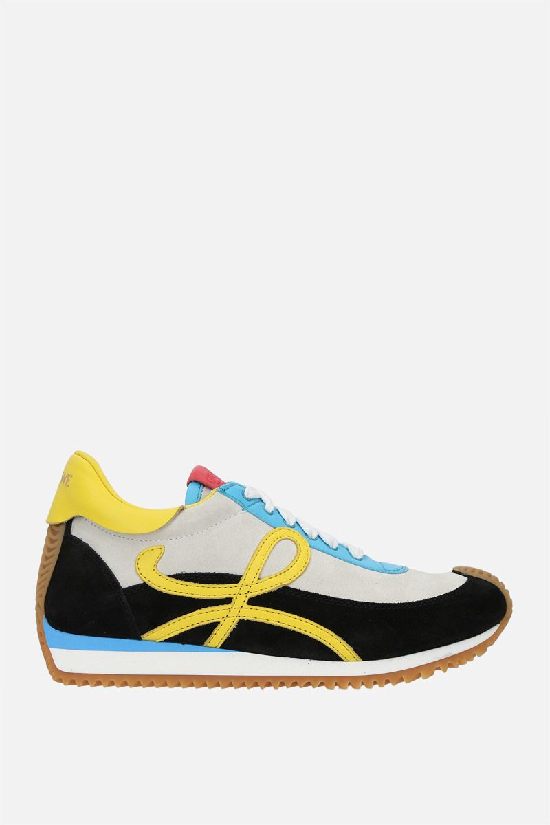 LOEWE: Flow suede and smooth leather sneakers Color Multicolor_1