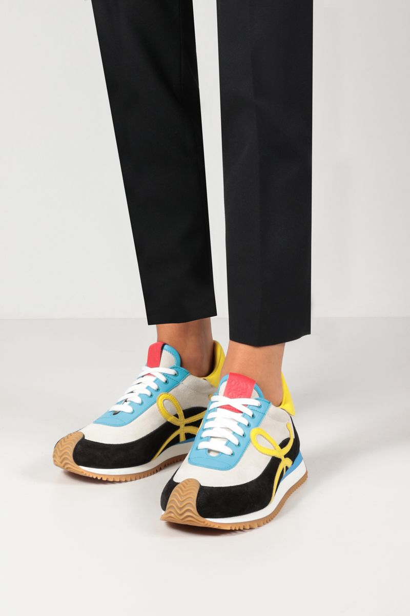 LOEWE: Flow suede and smooth leather sneakers Color Multicolor_2