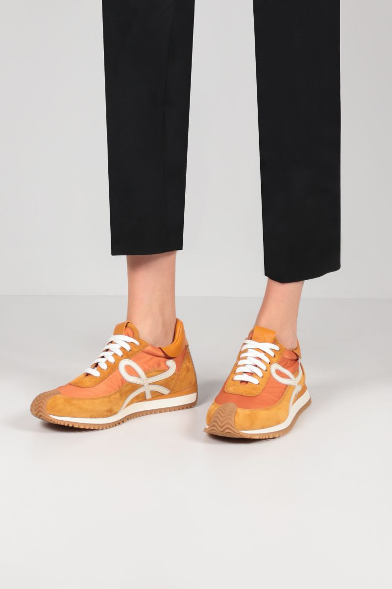 LOEWE: Flow suede and nylon sneakers Color Gold_2