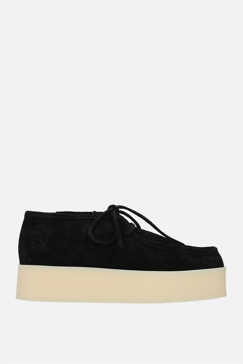 LOEWE: Anagram logo-detailed suede lace-up shoes Color Black_1