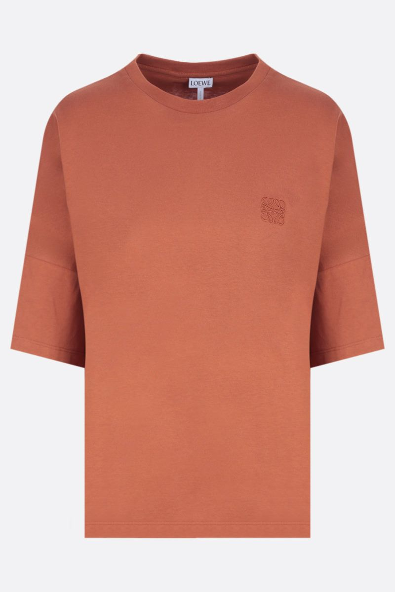 LOEWE: Anagram oversize cotton t-shirt Color Brown_1
