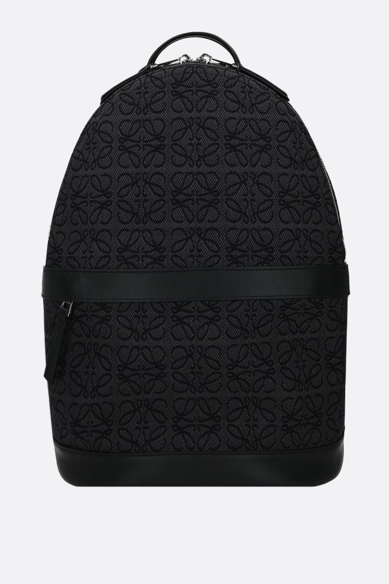 LOEWE: Anagram jacquard and smooth leather backpack Color Grey_1