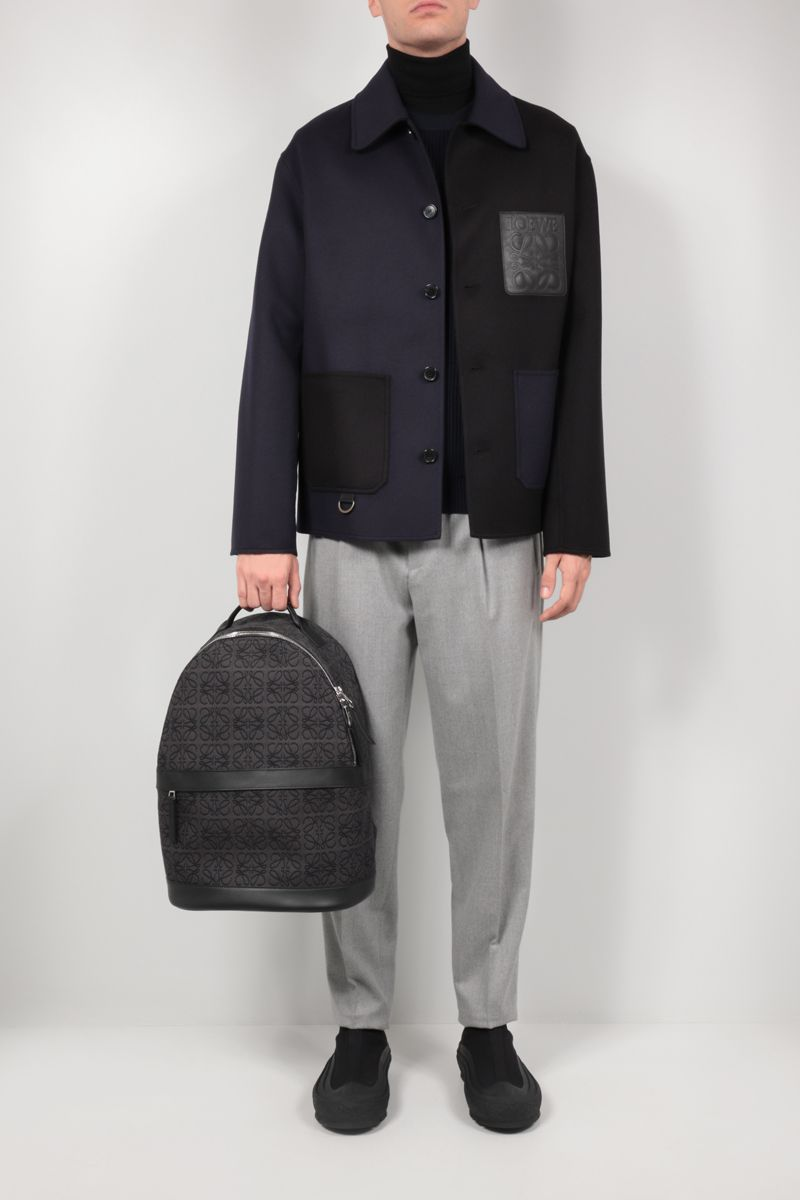 LOEWE: Anagram jacquard and smooth leather backpack Color Grey_2