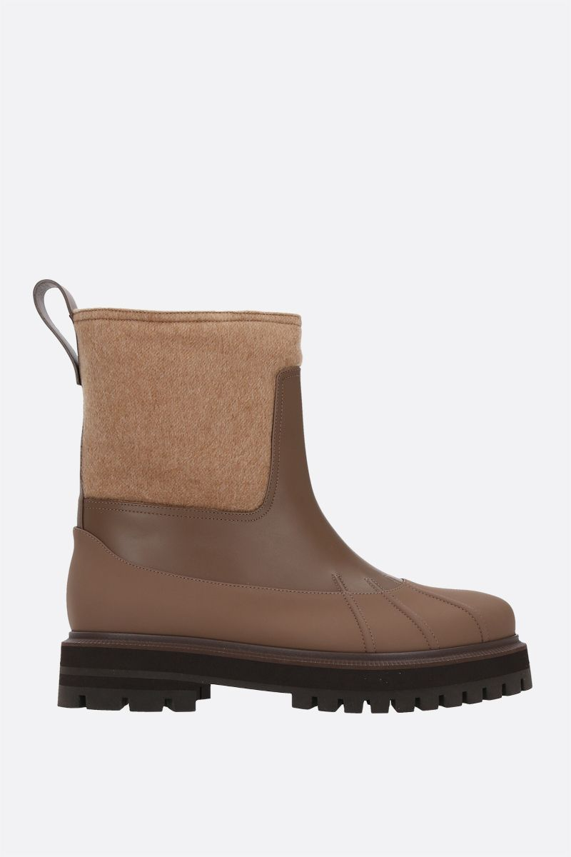 LORO PIANA: Regent smooth leather and cashmere ankle boots Color Brown_1