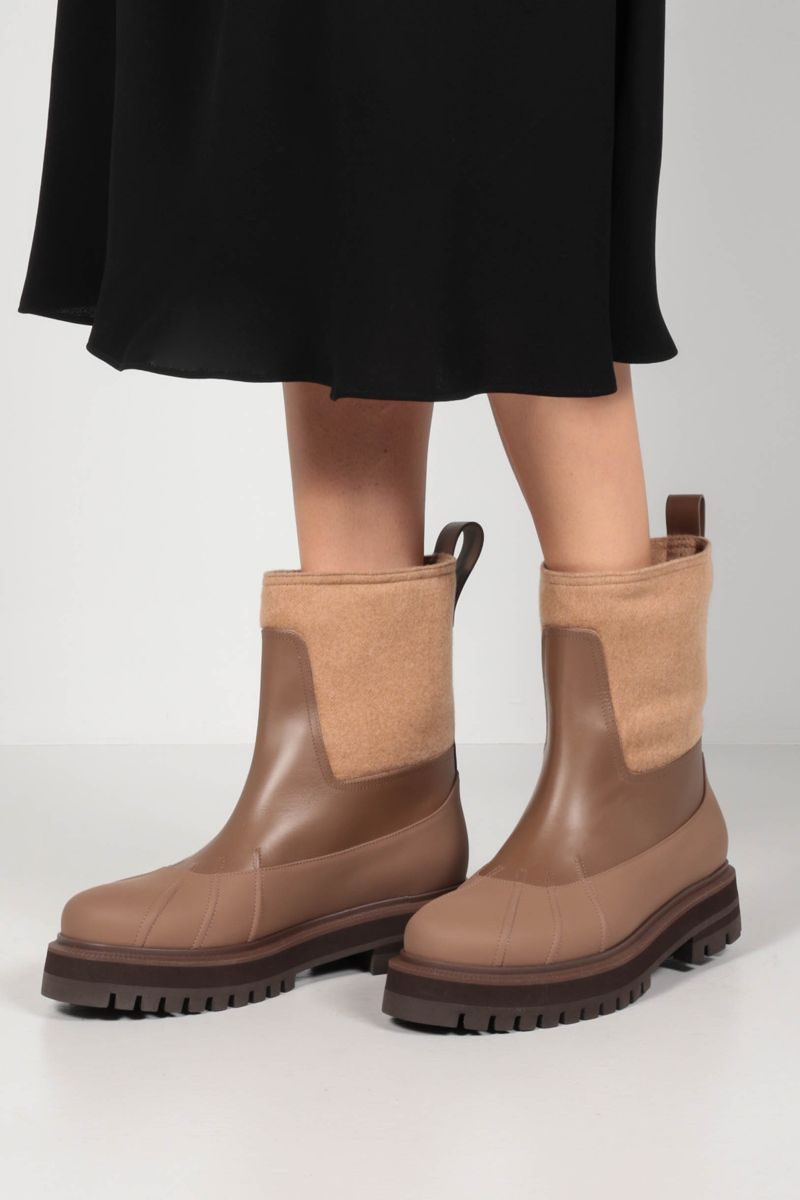 LORO PIANA: Regent smooth leather and cashmere ankle boots Color Brown_2