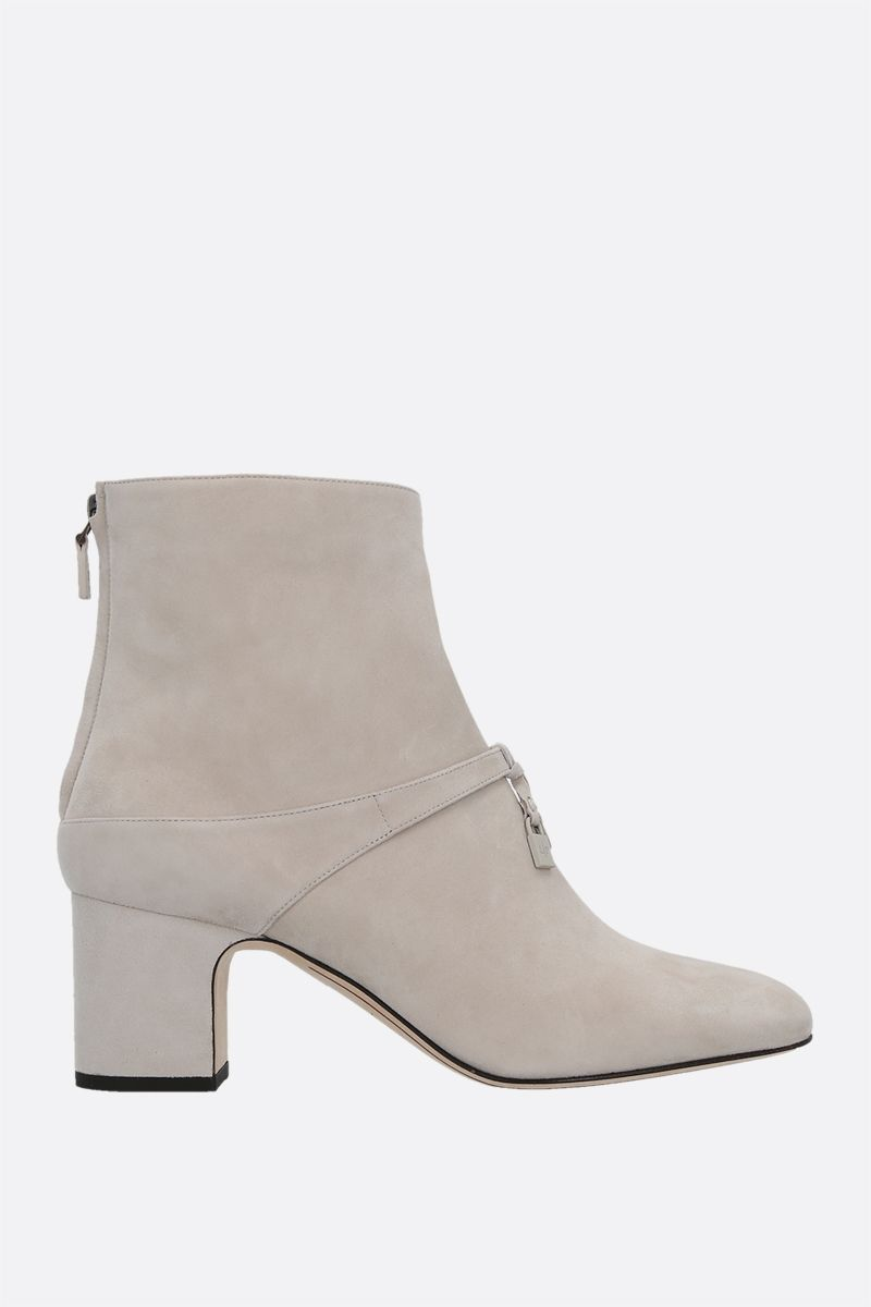 LORO PIANA: Maxi Charms suede ankle boots Color Neutral_1