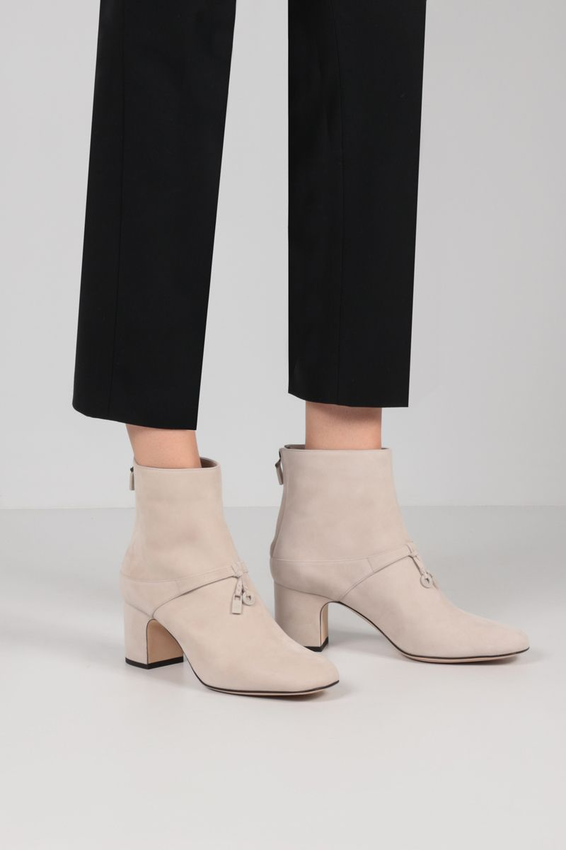 LORO PIANA: Maxi Charms suede ankle boots Color Neutral_2