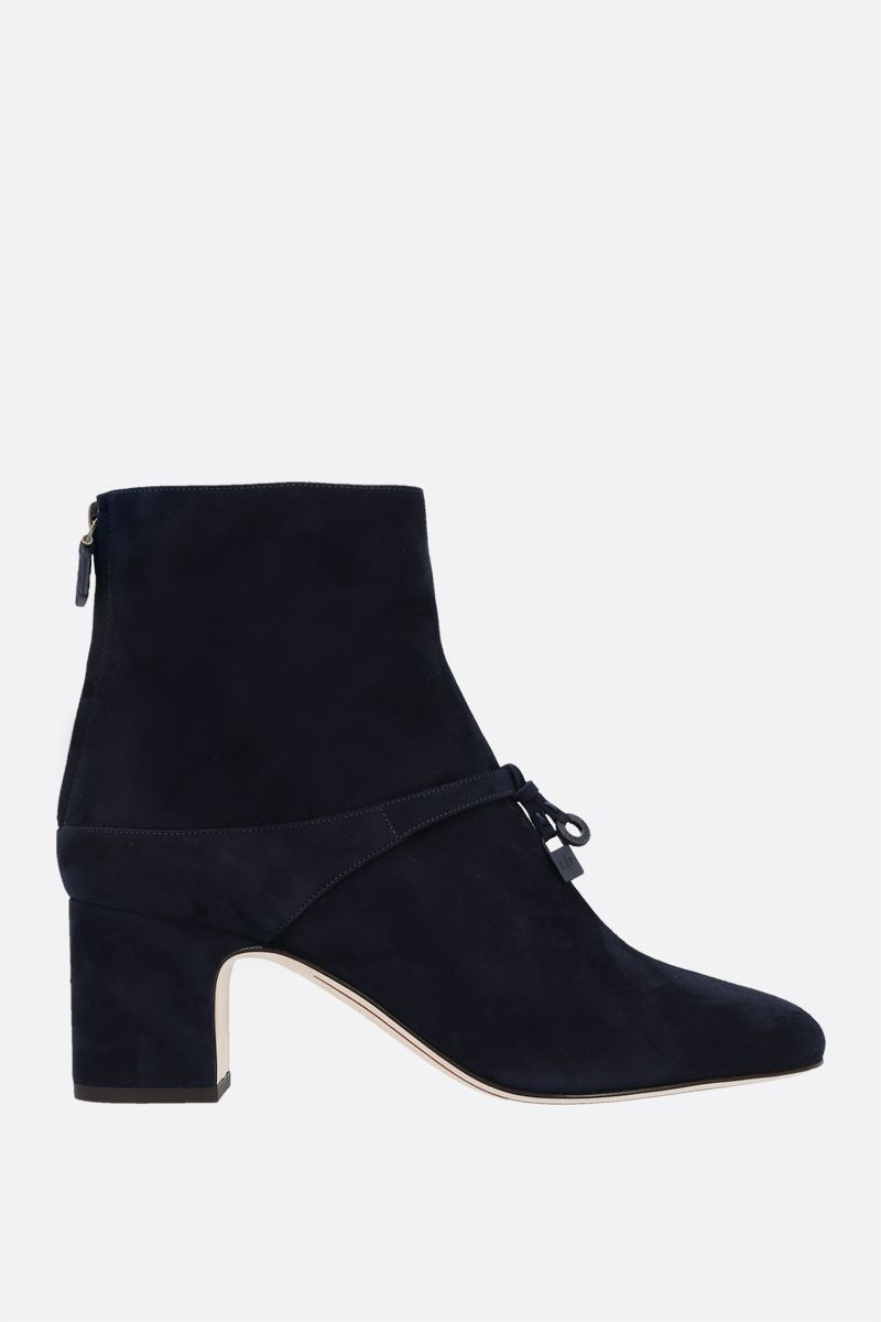 LORO PIANA: Maxi Charms suede ankle boots Color Blue_1