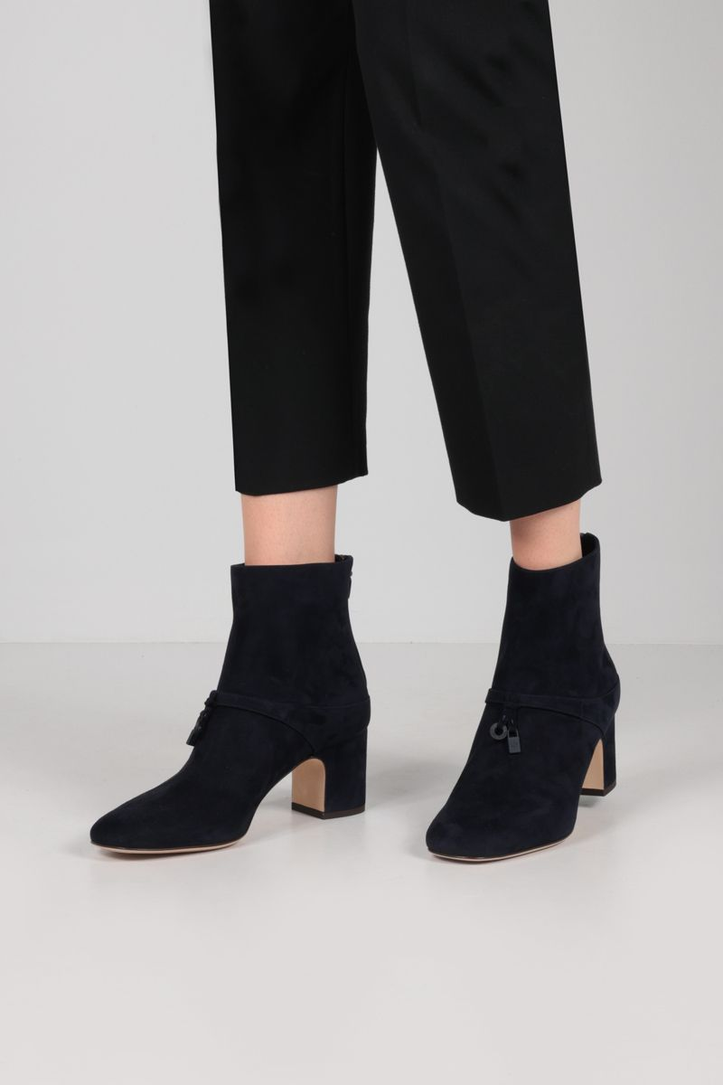 LORO PIANA: Maxi Charms suede ankle boots Color Blue_2