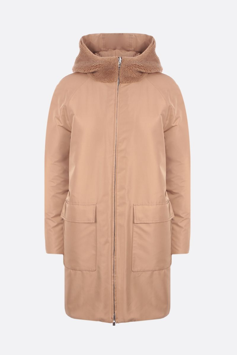 LORO PIANA: Conway reversible coat in Cashfur and silk blend Color Neutral_1