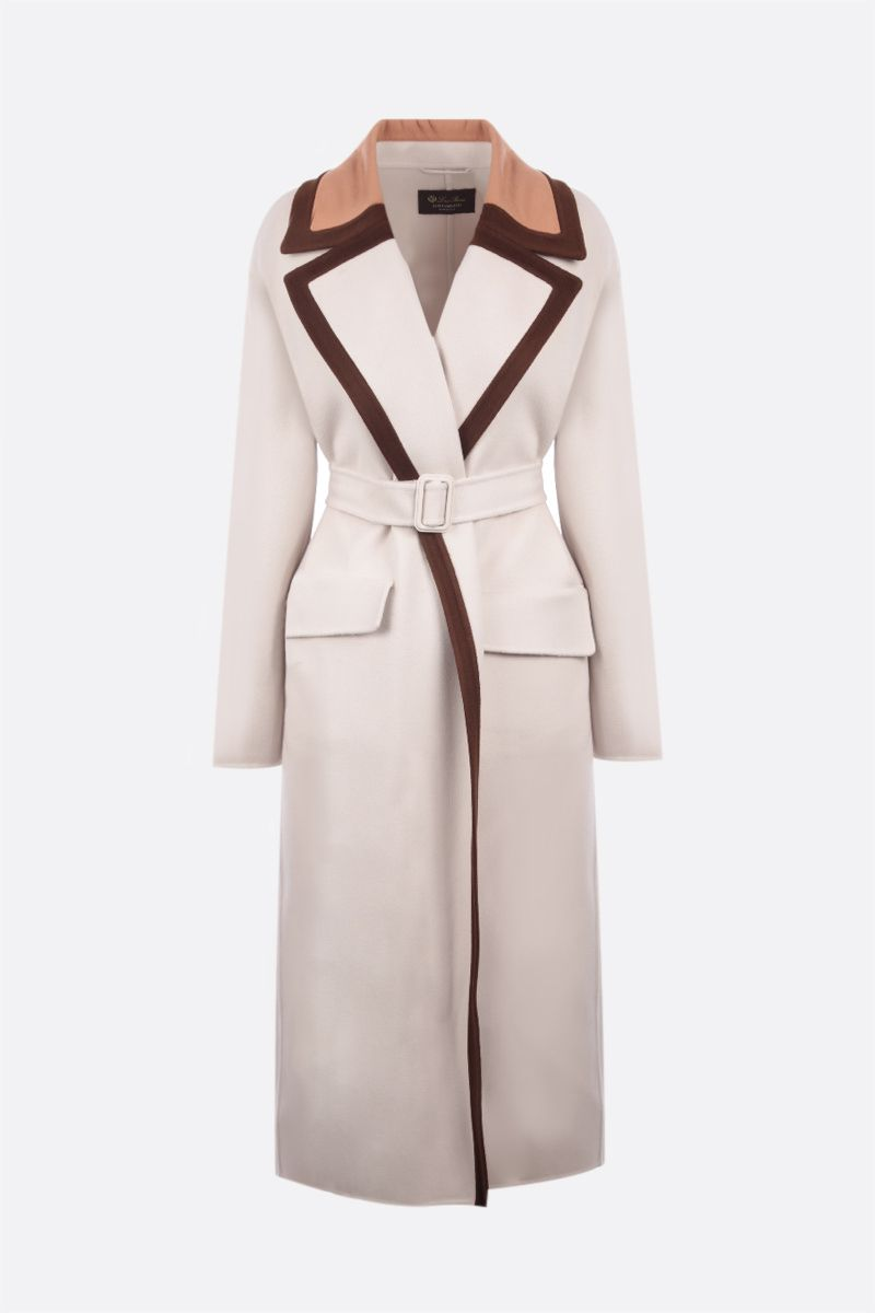LORO PIANA: Turner wrap coat in Baby Cashmere Color Neutral_1