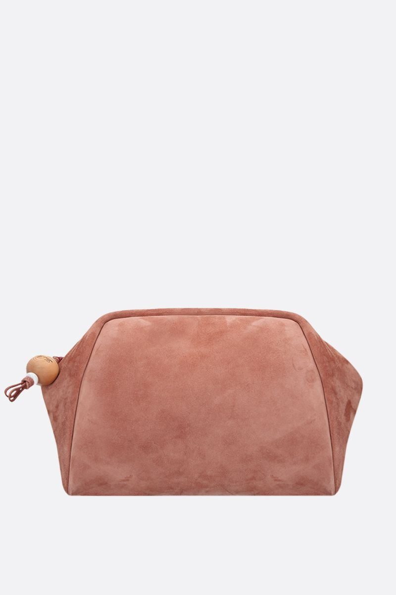 LORO PIANA: Puffy large suede strap clutch Color Neutral_1