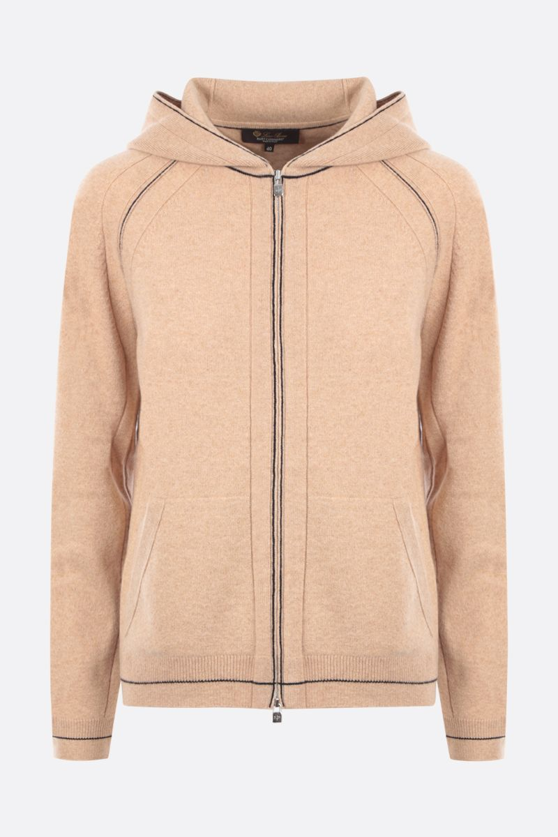 LORO PIANA: Merano Frame full-zip hoodie in Baby Cashmere Color Neutral_1