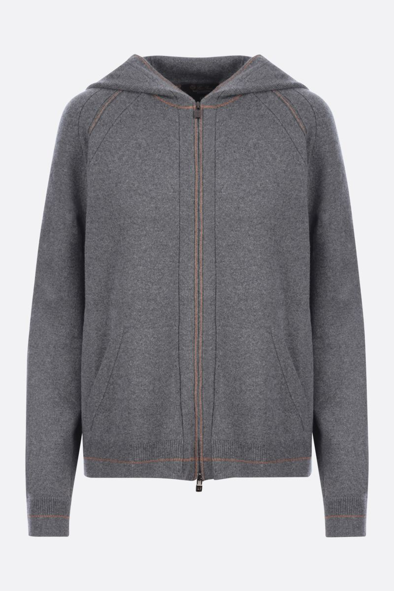 LORO PIANA: Merano Frame full-zip hoodie in Baby Cashmere Color Silver_1