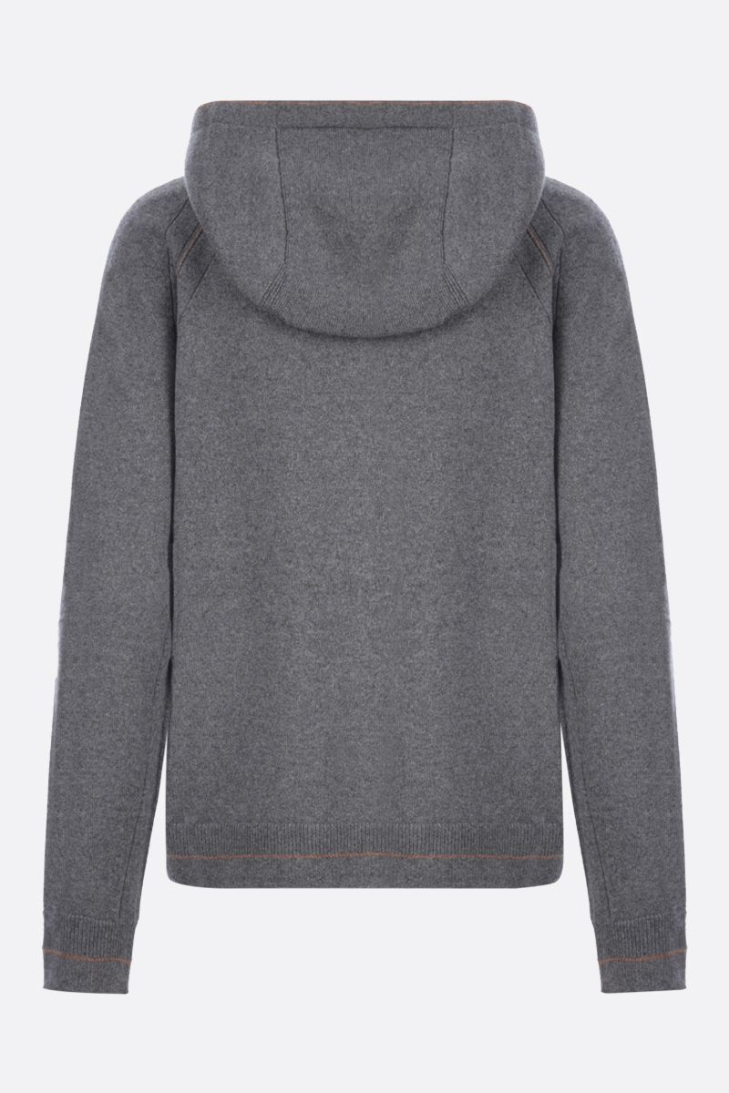 LORO PIANA: Merano Frame full-zip hoodie in Baby Cashmere Color Silver_2