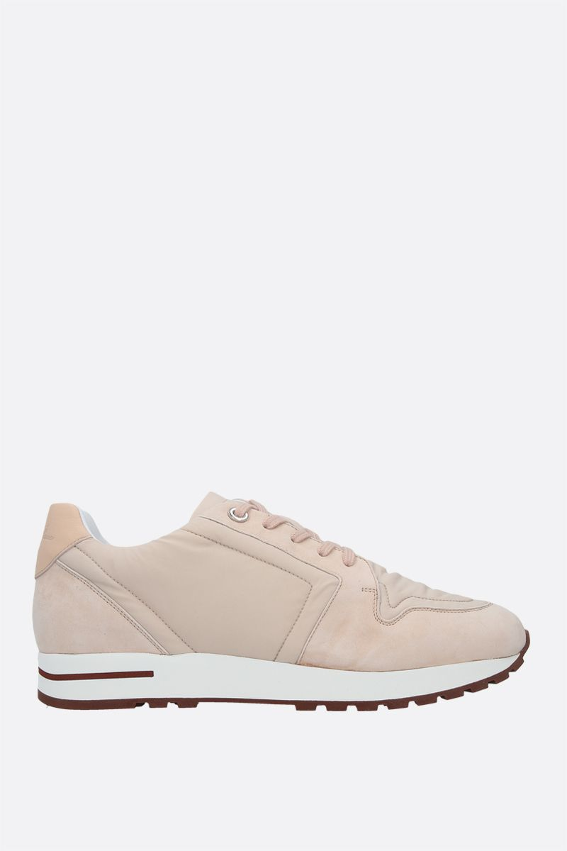 LORO PIANA: My Wind nylon and suede sneakers Color Pink_1