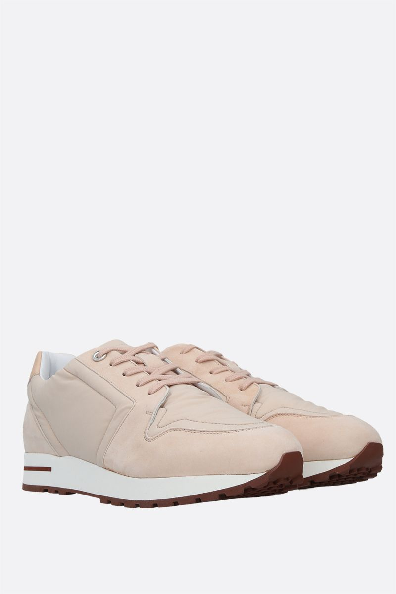 LORO PIANA: My Wind nylon and suede sneakers Color Pink_2