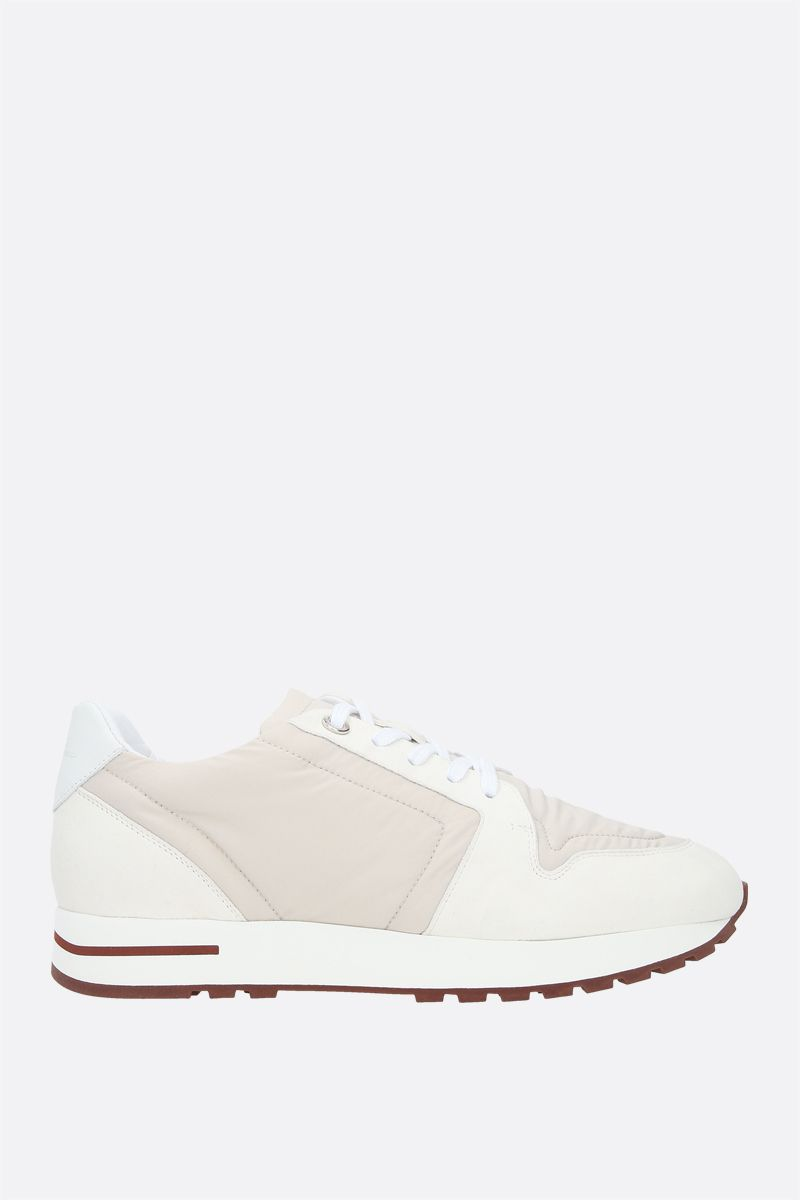 LORO PIANA: My Wind nylon and suede sneakers Color Neutral_1