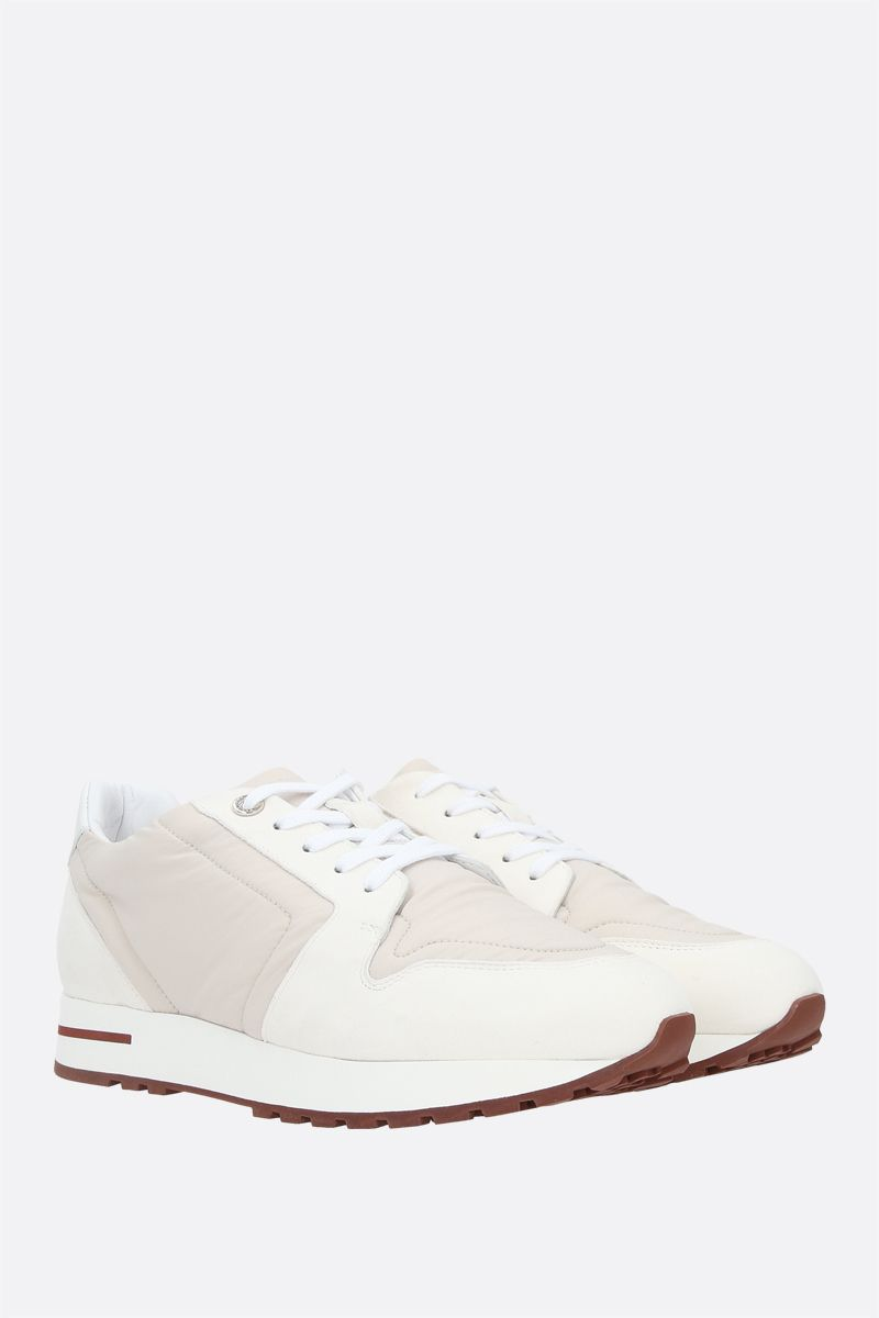 LORO PIANA: My Wind nylon and suede sneakers Color Neutral_2