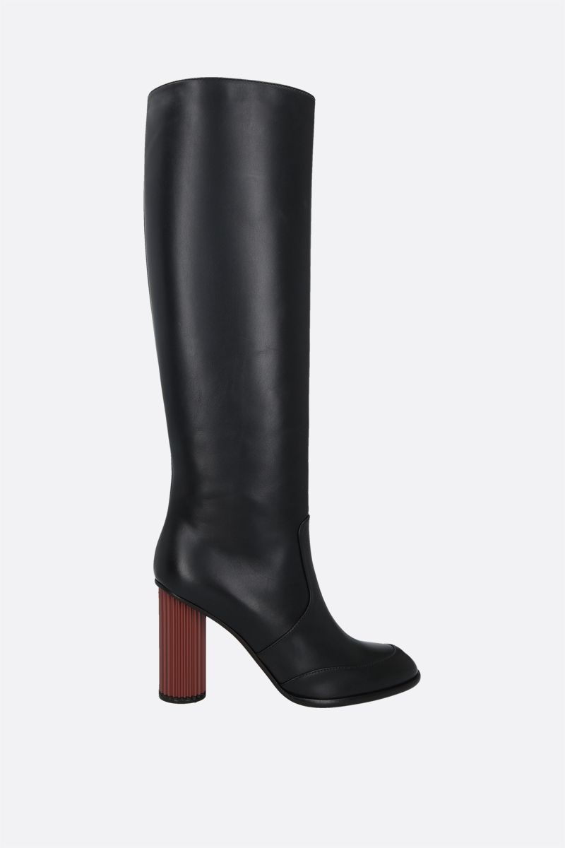 LORO PIANA: Column smooth leather boots Color Black_1