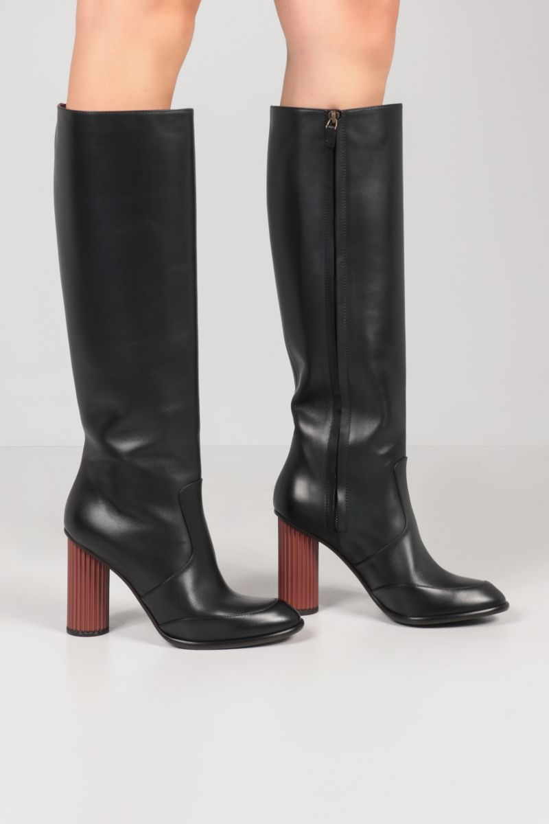 LORO PIANA: Column smooth leather boots Color Black_2