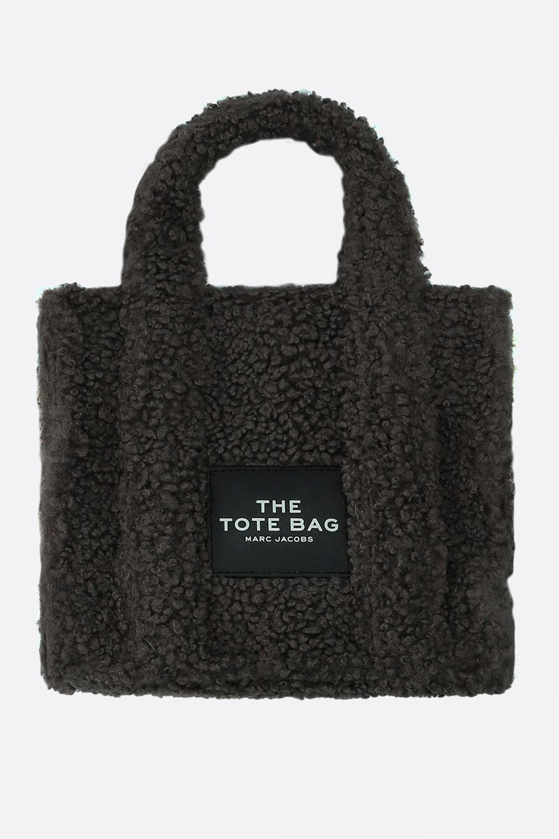 MARC JACOBS: The Teddy mini faux shearling tote bag Color Grey_1