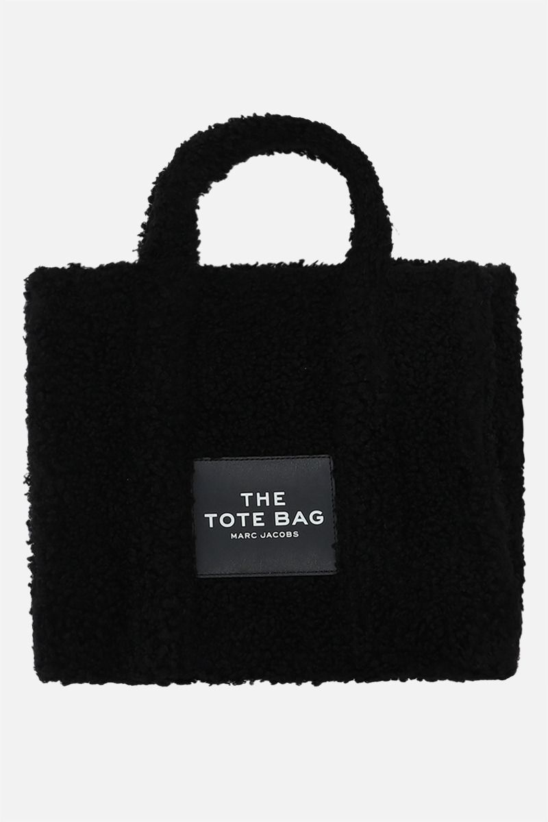 MARC JACOBS: The Teddy small faux shearling tote bag Color Black_1