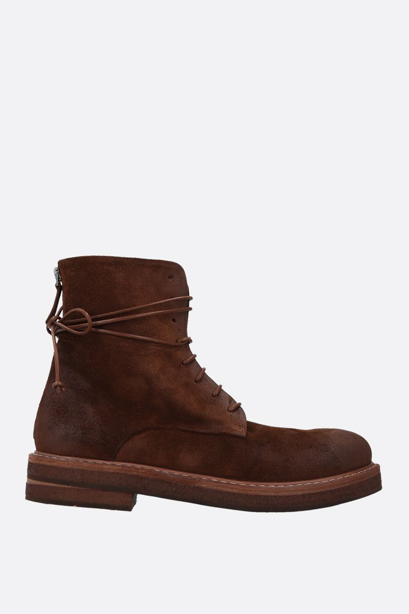 MARSELL: Parrucca velvet suede combat boots Color Brown_1
