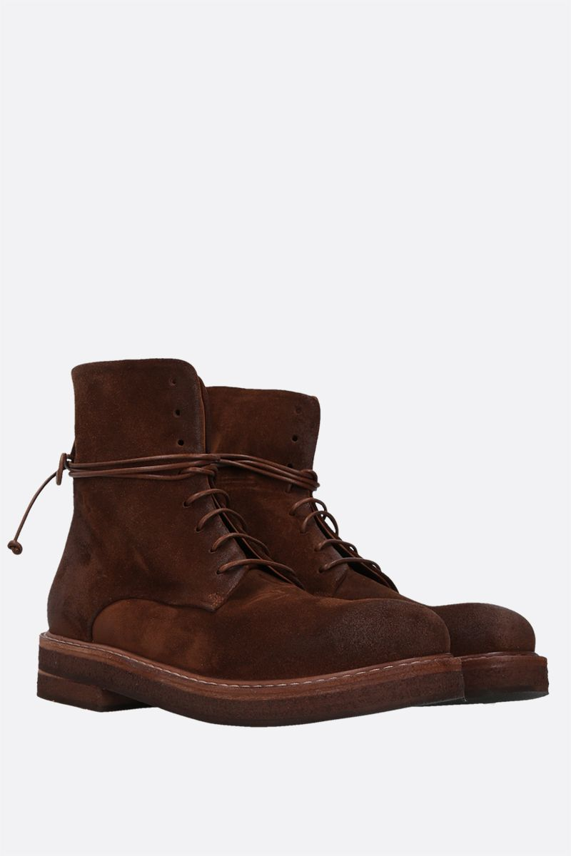 MARSELL: Parrucca velvet suede combat boots Color Brown_2