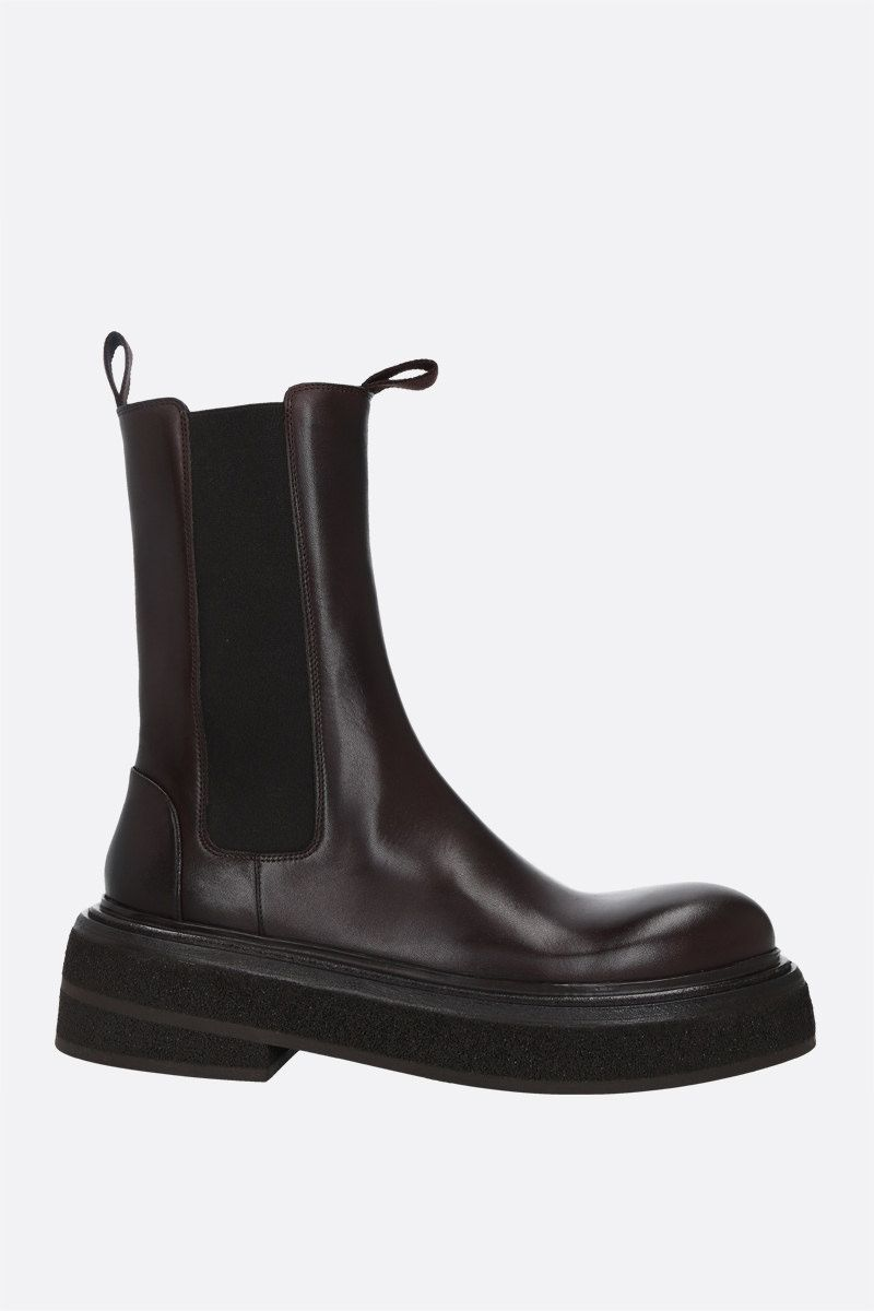 MARSELL: Zuccone shiny leather boots Color Brown_1