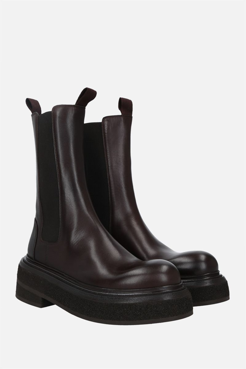 MARSELL: Zuccone shiny leather boots Color Brown_2