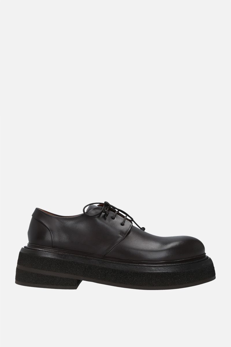 MARSELL: Zuccone shiny leather derby shoes Color Brown_1