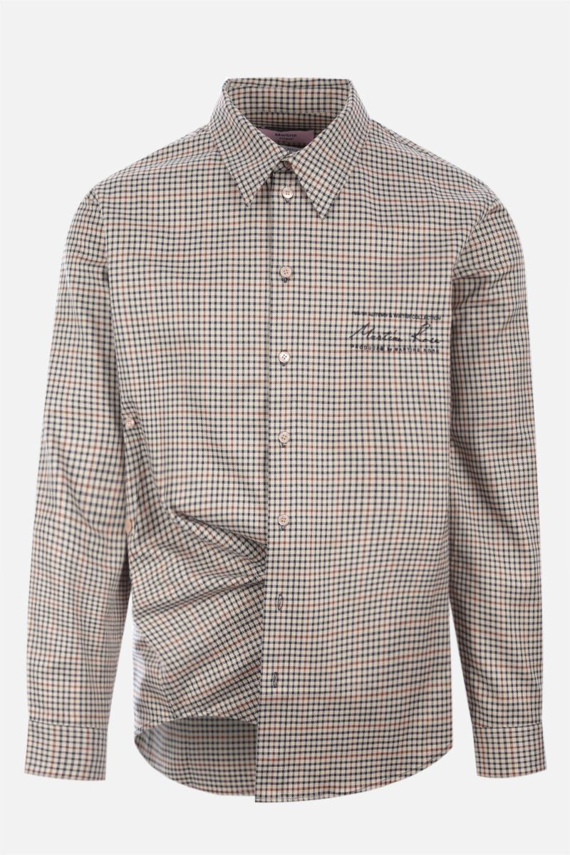 MARTINE ROSE: Wrap check wool blend shirt Color Neutral_1
