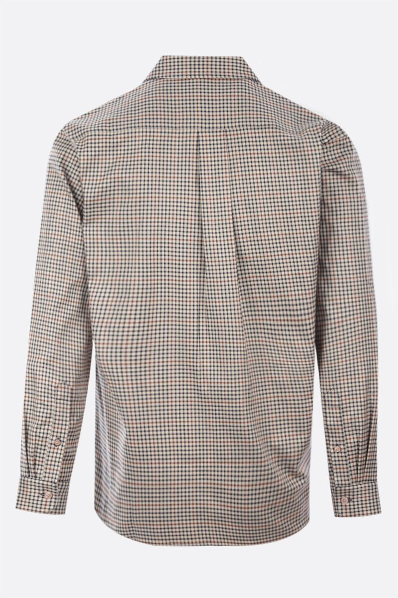 MARTINE ROSE: Wrap check wool blend shirt Color Neutral_2