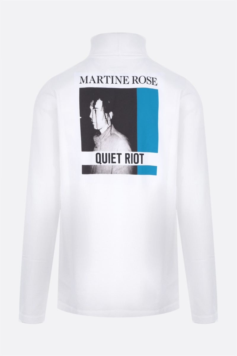 MARTINE ROSE: Quiet Riot long-sleeved cotton t-shirt Color White_2