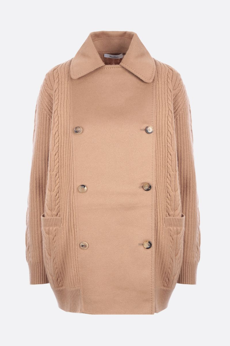 MAX MARA: Rumena double-breasted cashmere wool blend jacket Color Brown_1