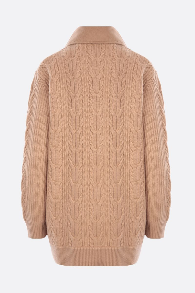 MAX MARA: Rumena double-breasted cashmere wool blend jacket Color Brown_2