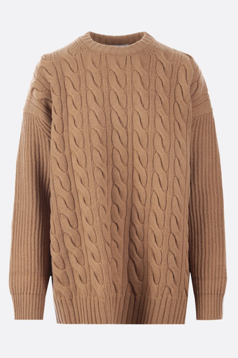 MAX MARA: Cannes oversize cashmere wool blend pullover Color Brown_1
