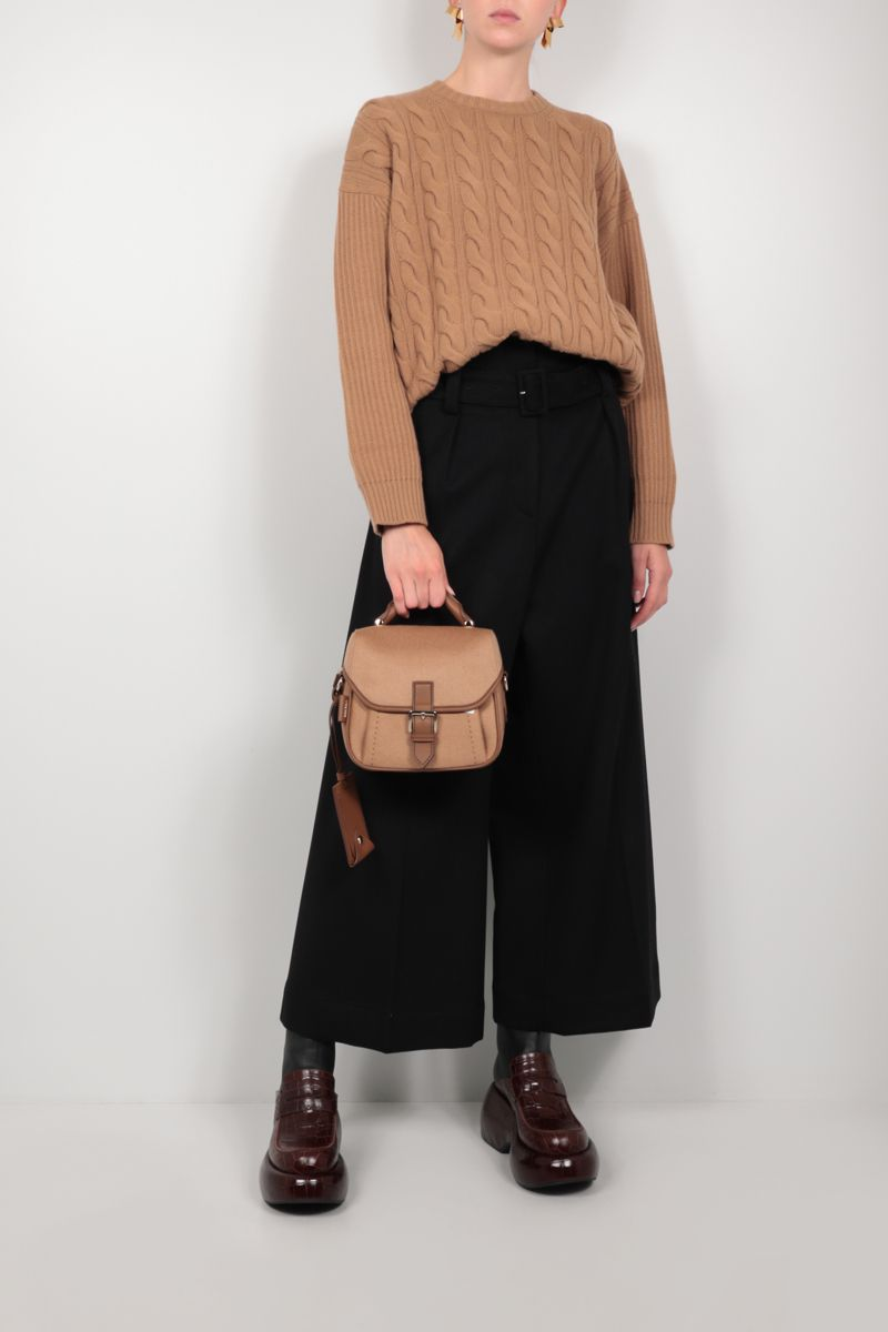 MAX MARA: Cannes oversize cashmere wool blend pullover Color Brown_2