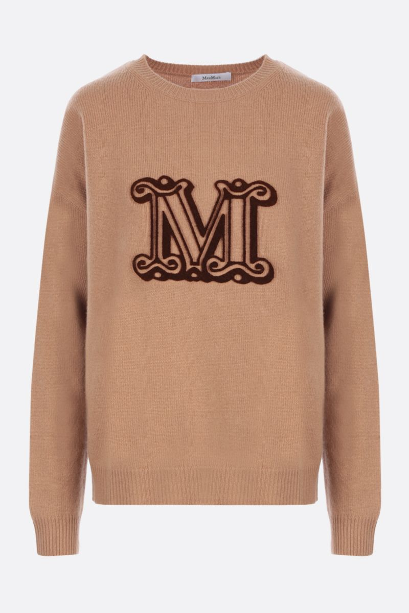 MAX MARA: Giostra cashmere wool blend pullover Color Brown_1