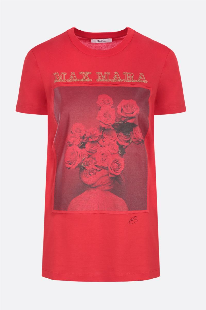 MAX MARA: Rosso cotton t-shirt Color Red_1