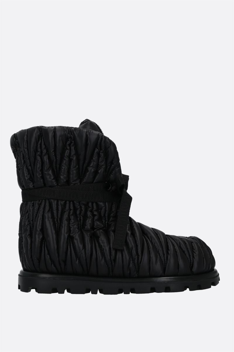 MIU MIU: quilted Re-Nylon ankle boots Color Black_1